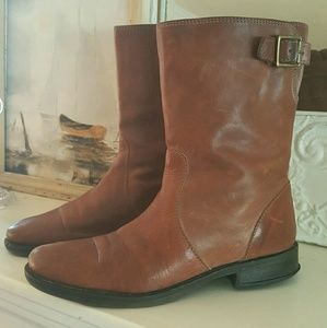 J. Crew Tan Leather Roadster Mid-Calf Boots